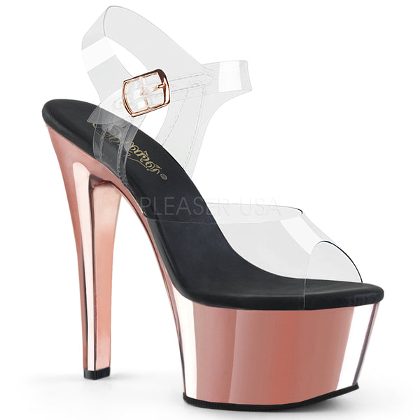 6 Inch  Platform Ankle Strap Sandal with Chrome Base