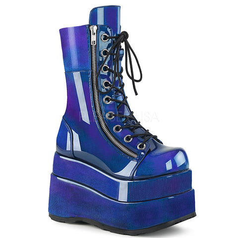 "4 1/2"" Platform Blue Purple Patent  Lace-Up Front Mid-Calf Boot with Metal Zip"