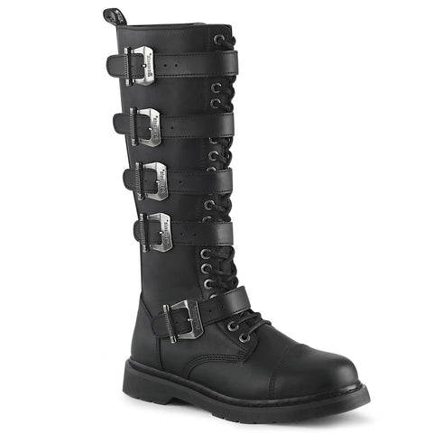 "In Men's Size 1 1/4"" Black Heel 20 Eyelet Unisex Knee High Combat Boot Featuring 5 Buckle Straps, Inside Zip Closure"