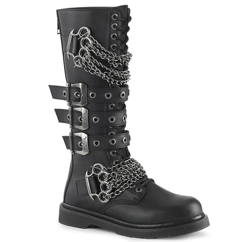 "In Men's Size 1 1/4"" Heel 20 Eyelet Unisex Knee High Combat Boot Featuring Triple Buckle Straps and Brass Knuckles w/ Chain Detail, Inside Zip Closure"