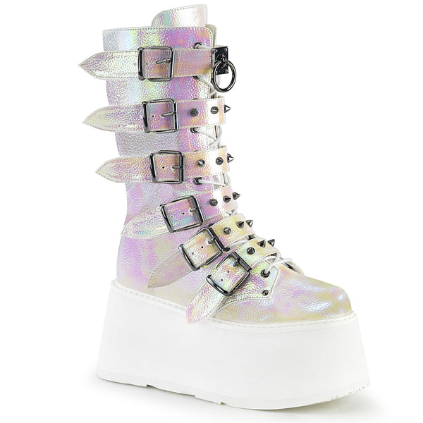 "3 1/2"" Pearl Iridescent Platform Lace-Up Front Mid-Calf Boot Featuring 6 Cone-Studded Buckle Straps, Inside Metal Zip Closure"