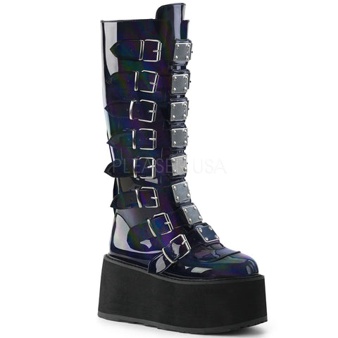 "3 1/2"" Platform Black Hologram Vegan Knee High Boot"