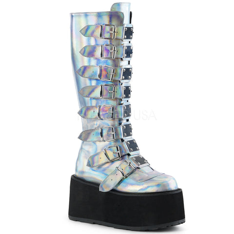 "3 1/2"" Platform Silver Hologan Vegan Knee High Boot"