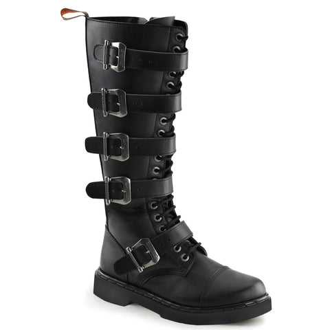 "In Men's Size 1"" Heel 20 Eyelet Combat Boot Featuring 5 Adjustable Buckle Straps, Full Inner Side Zipper"