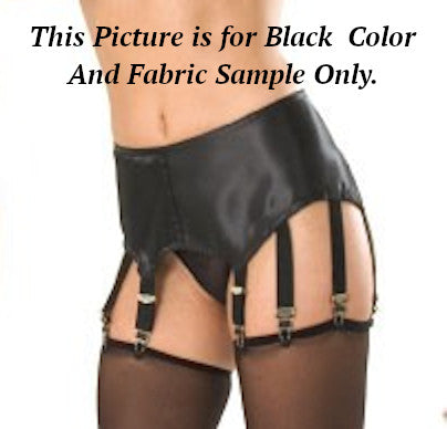 Durable black satin garter belt with 6 adjustable garters