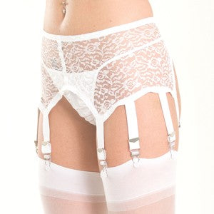 White lace garter belt with 8 garter straps