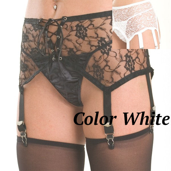 White front lace up garter belt with 6 garters