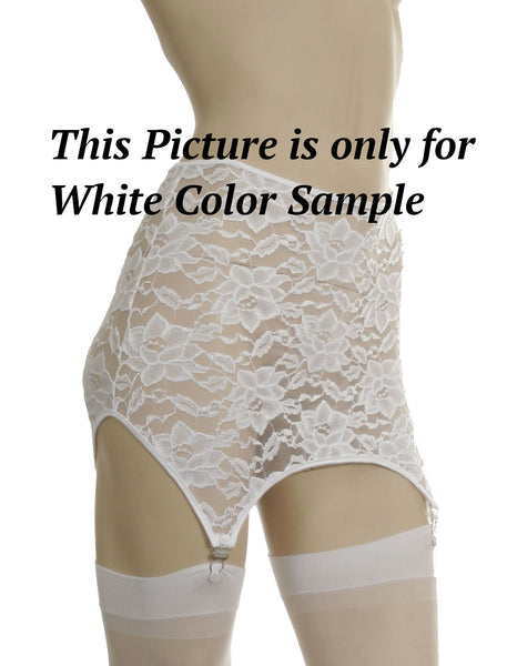 White Stretch lace garter belt with 6 garters