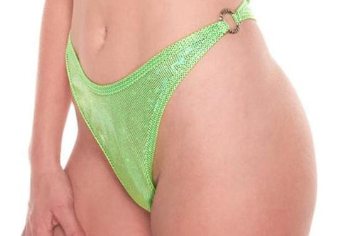 Neon Green Holographic Side Ring Thong