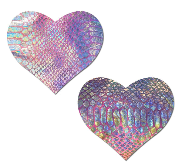 Silver Holographic Snake Print on Pastel Tie-Dye Heart Nipple Pasties