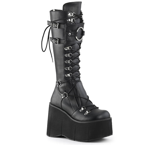 "4 1/2"" Platform D-Ring Lace-Up Knee High Boots Featuring Adjustable Shield w/ an Oversized O-Ring, Full Length Back Metal Zip Closure"