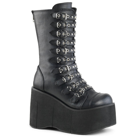 "4 1/2"" Black Platform Strappy Mid-Calf Boot Featuring Dual Buckles on Each Strap, Round & Heart Stud Detail on Straps, Back Metal Zip Closure"