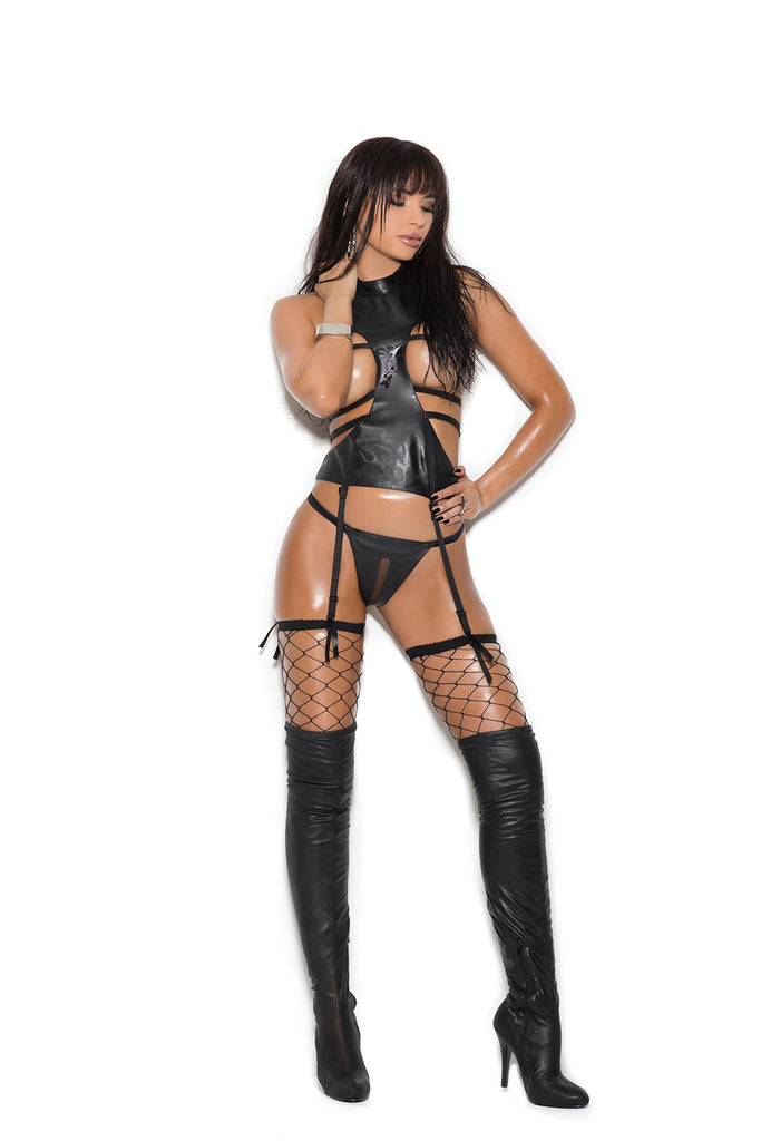 LEATHER CAMISETTE AND CROTCHLESS G-STRING