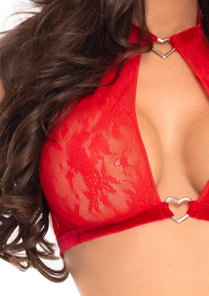2 PC Red Lace Halter Top and Panty Set