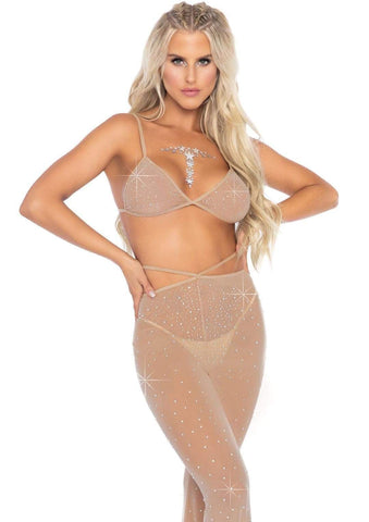 2 PC Nude Rhinestone Bikini Top and Pants
