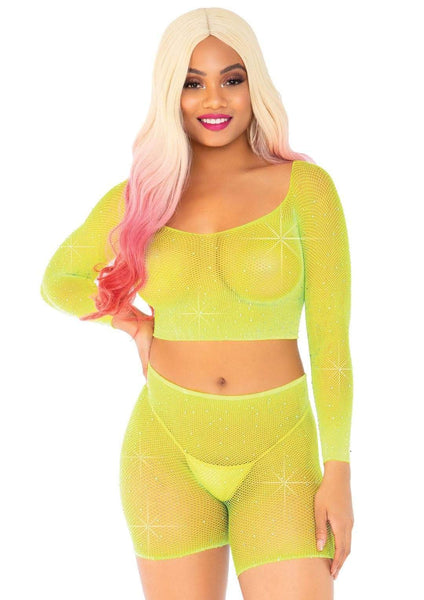 Neon Yellow 2 PC Rhinestone Fishnet Top and Shorts