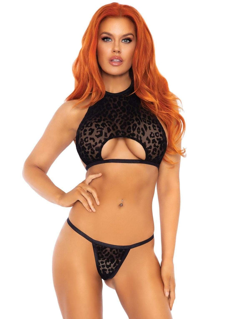 2 PC Black Velvet Leopard Crop Top and Panty Set