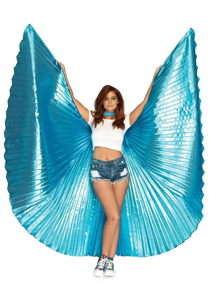 360 Degree Pleated Silver Halter Isis Wings With Support Sticks