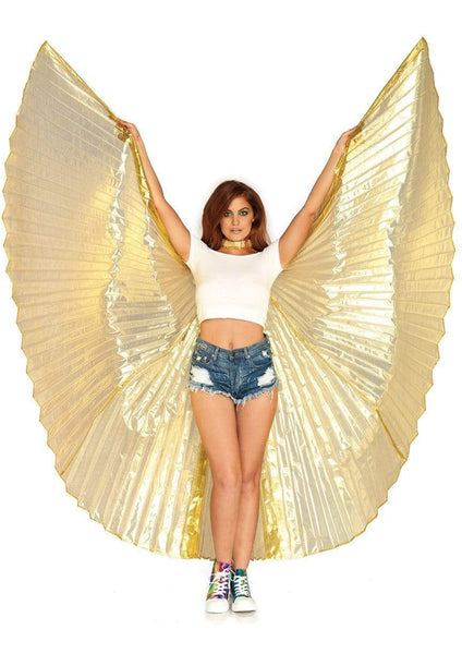 360 Degree Pleated Gold Halter Isis Wings With Support Sticks