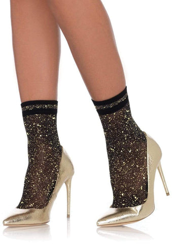 Black and Gold Lurex anklet Sock
