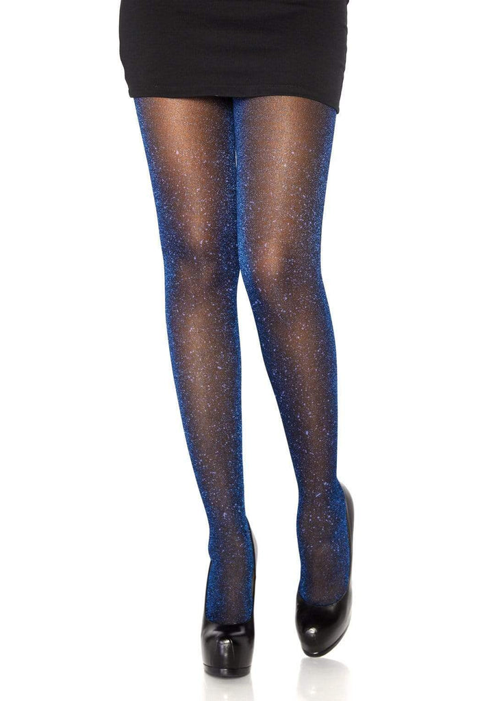 Black with Royal Blue Lurex Shimmer Tights