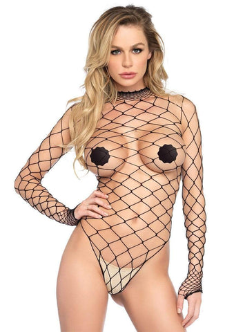 Black Wide Net Bodysuit
