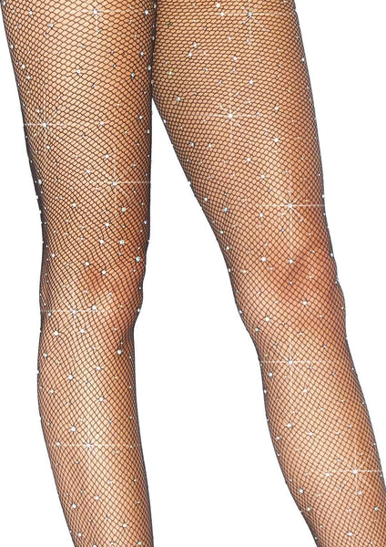 Rhinestones Crystallized Black Fishnet Tights