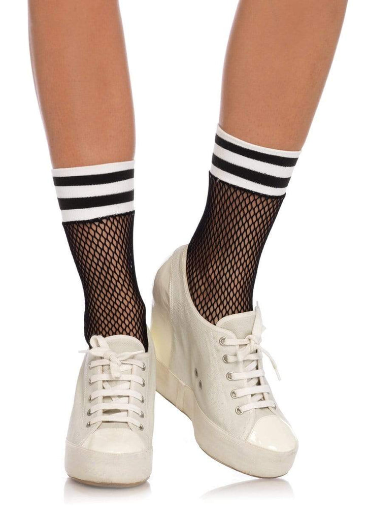 Fishnet Anklets with Stripes