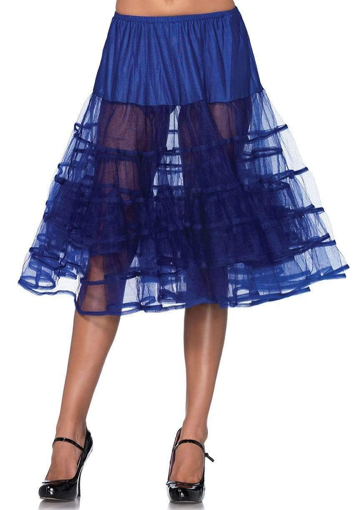 Royal Blue Shimmer Organza Knee Length Petticoat Skirt