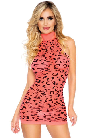 Neon Coral Cheetah Racerback Dress