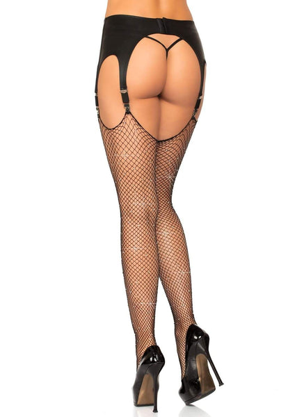 Rhinestone Fishnet Thigh Hi Stockings