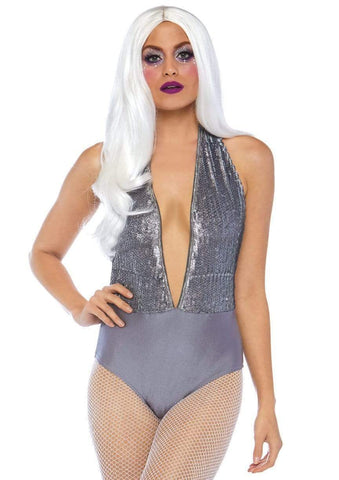 Grey Shimmer Sequin Snap Crotch Plunging Halter Bodysuit