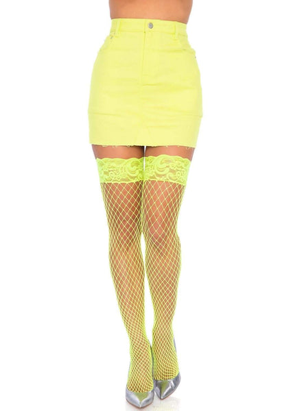 Black Stay Up Lycra Industrial Fishnet Thigh High