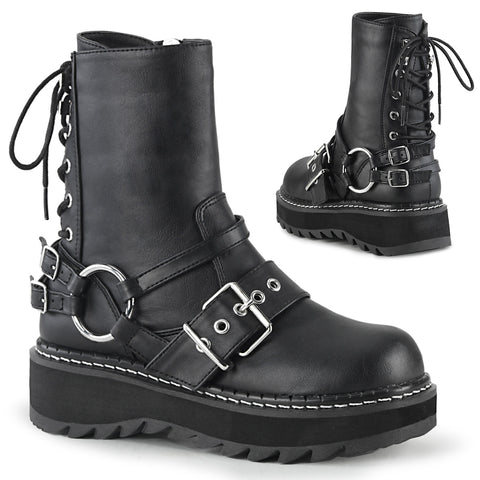 "1 1/4"" Black Platform Rear Lace-Up Ankle Boot W/ Contrast White Stitching at the Welt, Inside Zip Closure"