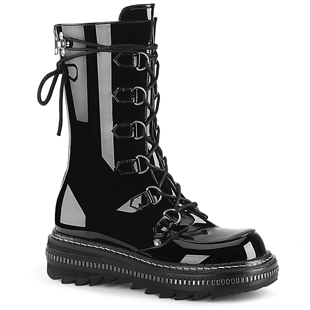 "1 1/4"" Black Patent Metal Trimmed Platform D-Ring Lace-Up Mid-Calf Boot, Back Zip Closure"