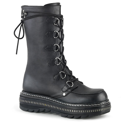 "1 1/4"" Black Metal Trimmed Platform D-Ring Lace-Up Mid-Calf Boot, Back Zip Closure"