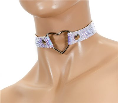 "Holographic Snake Pattern Patent leather 1/2"" Wide  Choker with Heart Shape Ring"