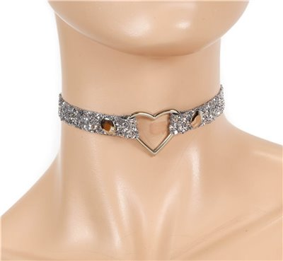 "Patent Leather 1/2"" Small Heart Silver Glitter Choker"