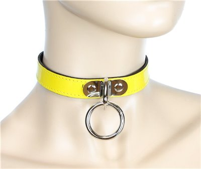 "3/4"" Wide Yellow Bondage Patent Leather Choker"