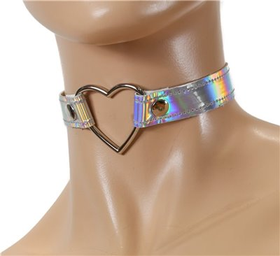 FC223RN-SIL LEATHER HEART RING CHOKER