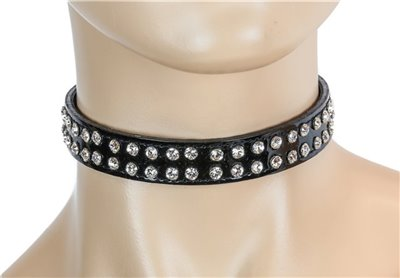 CK248P 2 ROWS RHINESTONE PATENT LEATHER CHOKER