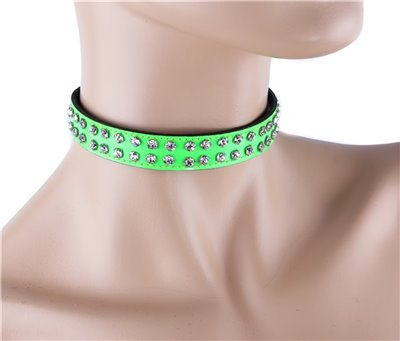 2 Rows Rhinestone Red Patent Leather Choker