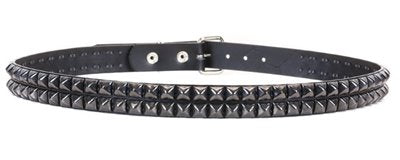 "BT117-BS 2 ROW 1/2"" BLACK STUDDED BELT"