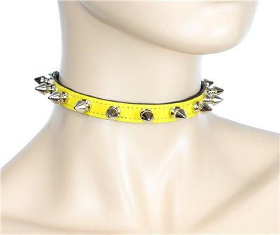 "Patent Leather Neon Yellow 1/2"" Wide Choker with Spikes"