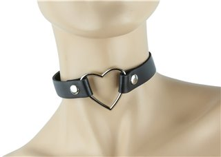 Heart Ring on Leather Choker