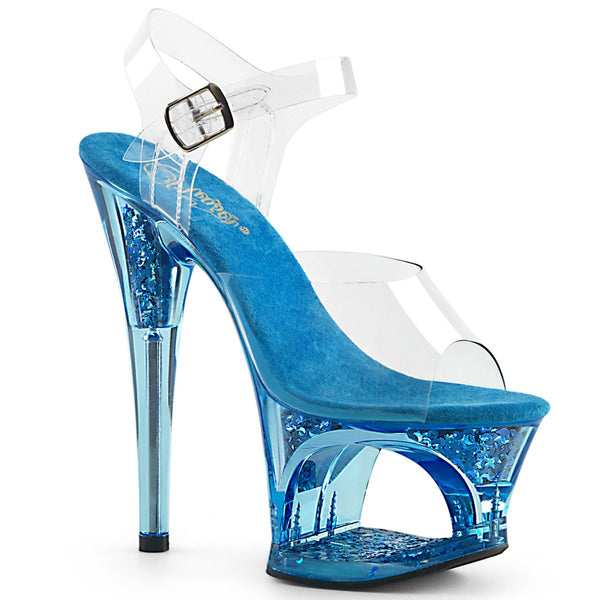 "7"" Blue Tinted Clear Moon Cut-Out Platform Ankle Strap Sandal MOON708GFT/C/BLU"