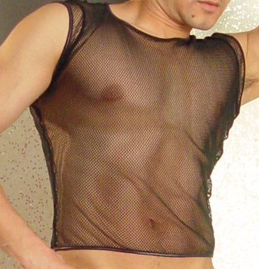 Black Short Sleeve Fishnet Top