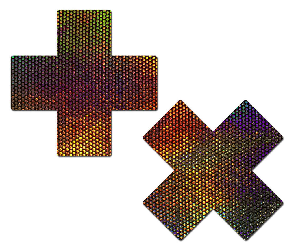 X Holographic Midnight Rainbow Velvet Cross Nipple Pasties