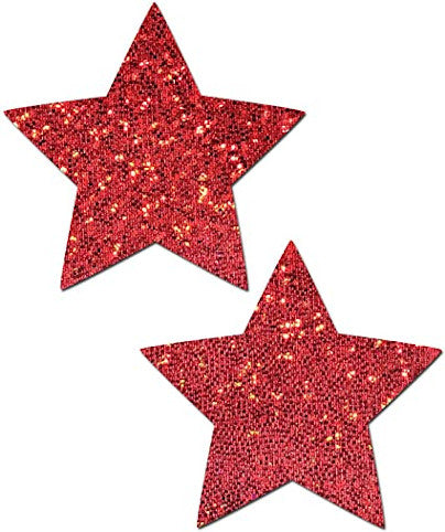 Red Glitter Star Nipple Pasties