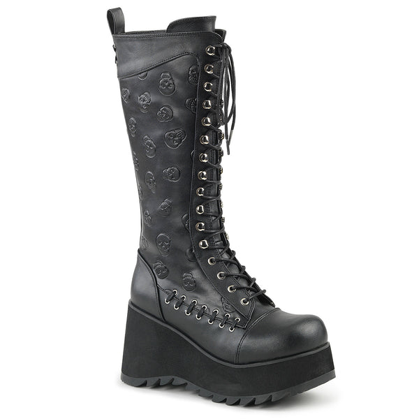 "3 1/2""  Platform Lace-Up Front Knee High Boot with Embossed Skull s on Shaft and Lacing Detail, Full Inside Zip Closure"